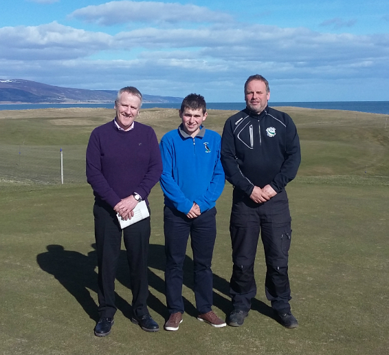 L-R, Mike Clark, SRUC Elmwood lecturer, award-winner Alistair Morrison and James MacBeath, Head Greenkeeper at Brora Golf Club.