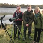 Gus Routlege with SRUC alum Simon Ritchie and Michaela Strachan from Autumnwatch
